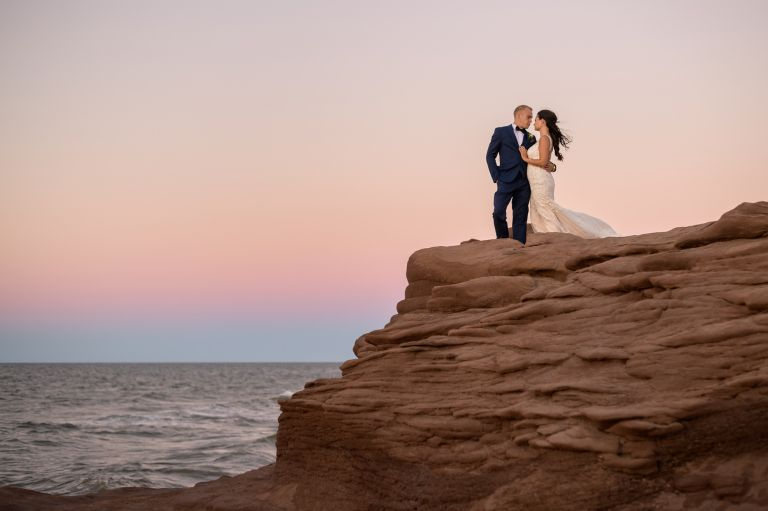 Sunset cliffside wedding - Cap-Pele, NB