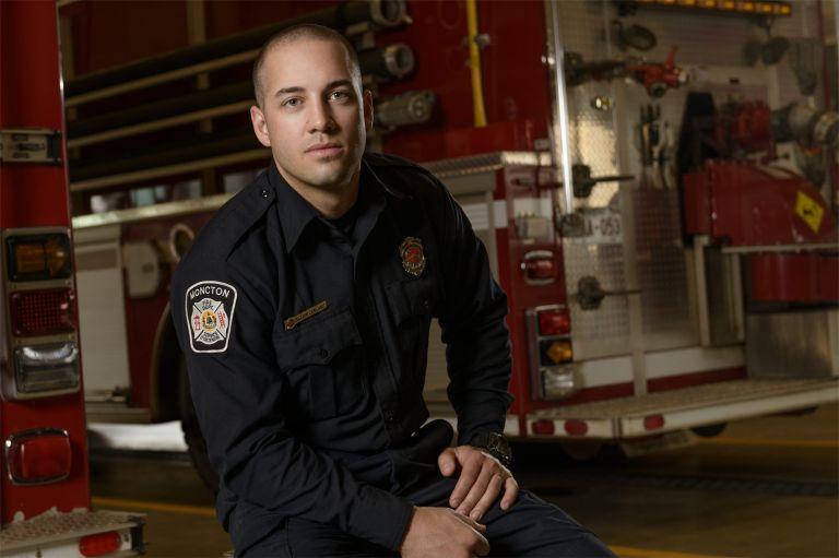 Fireman portrait in fire station